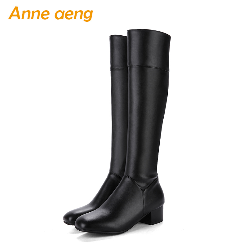 2019 new winter women knee-high boots warm plush lining middle heels ladies sexy riding boots black women shoes big size 33-43 стоимость