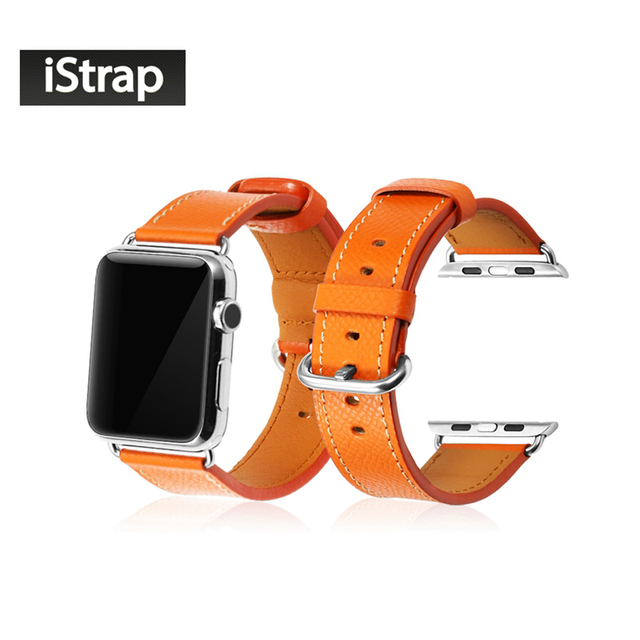Negro rojo orange hebilla de acero inoxidable pulsera de cuero de becerro genuino correa adaptador para apple watch 42mm correa de reloj