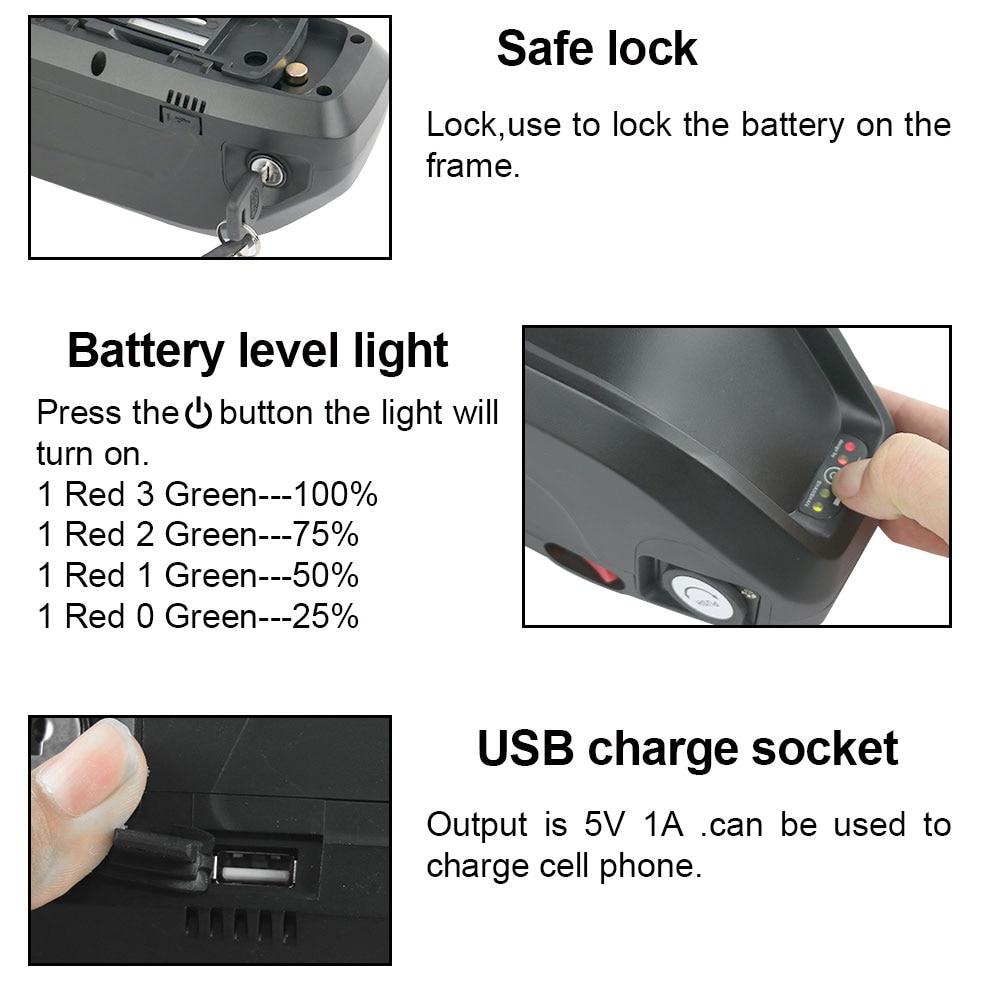 48V 13Ah lithium ion Hailong electrical ebike battery fits 624Wh motor+USB Port!