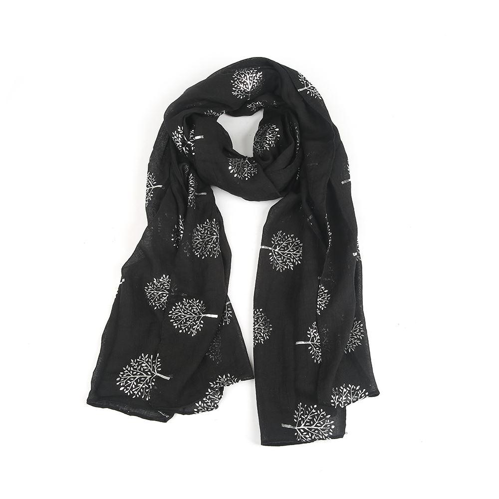 Womens silver tree metallic print head scarf soft touch hijab sarong
