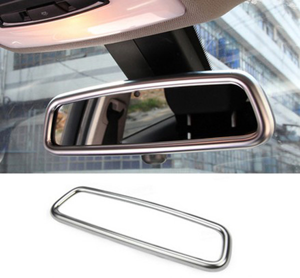 chrome car interior rearview mirror cover trim sticker car accessories for jaguar xe xf xjl f. Black Bedroom Furniture Sets. Home Design Ideas