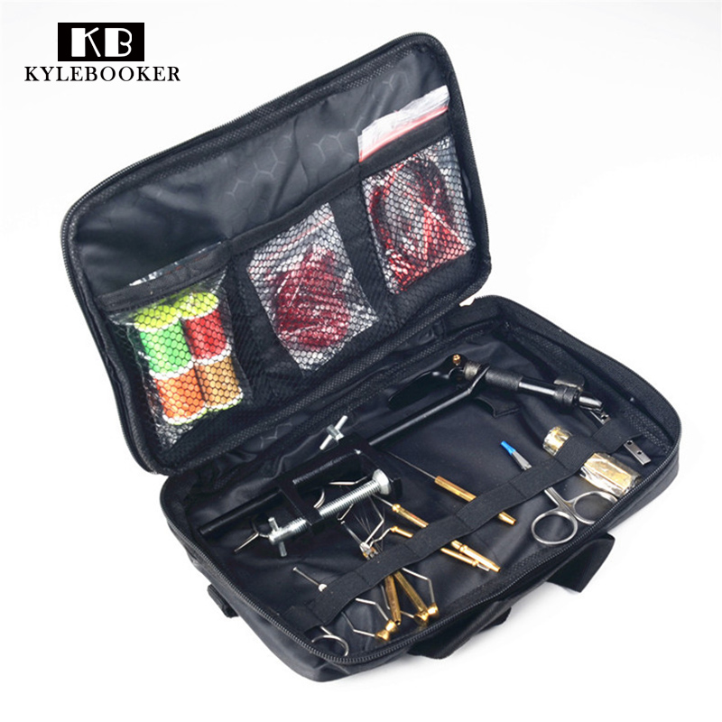 Fly Tying Tools Kit in Portable Bag include fly tying Vise bobbin holders plier hair stacker