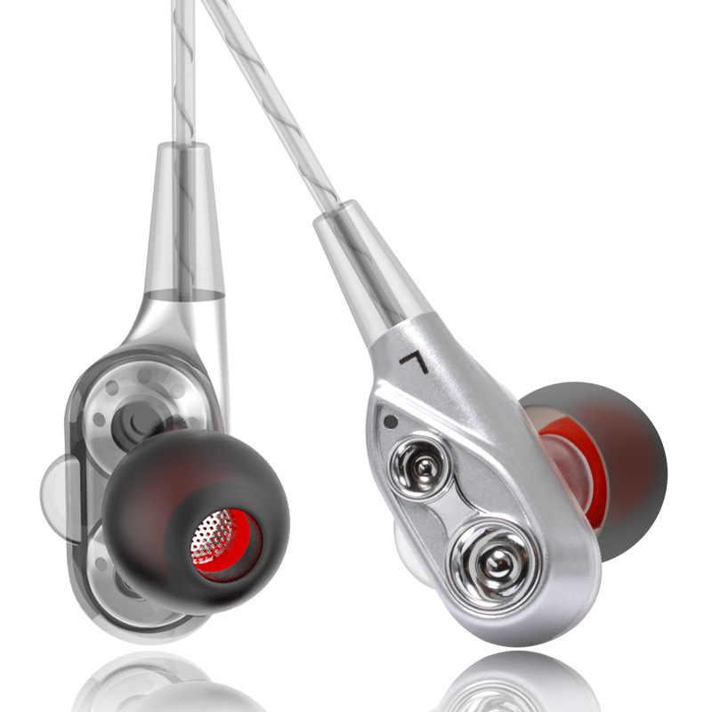 HIFI monitora słuchawki 4 rdzeń podwójny sterownik Stereo Bass sportowe do biegania zestaw słuchawkowy głośnomówiący z mikrofonem słuchawki douszne do iphone huawei Samsung
