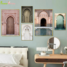 Morocco Door Scenery Religion Nordic Poster Wall Art Canvas Painting Casablanca Palace Pictures For Living Room Unframed