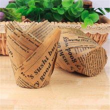 50pcs Newspaper Style Cupcake Liner Baking Cup For Wedding Party Caissettes Tulip Muffin Cupcake Paper Cup Oilproof Cake Wrapper