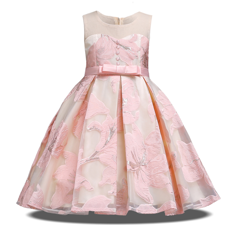 Flower Tutu Kids Clothing Satin Elegent Lace Sleeveless Girls Dresses For Children Princess Party Custumes 3 4 6 8 10 12 Years