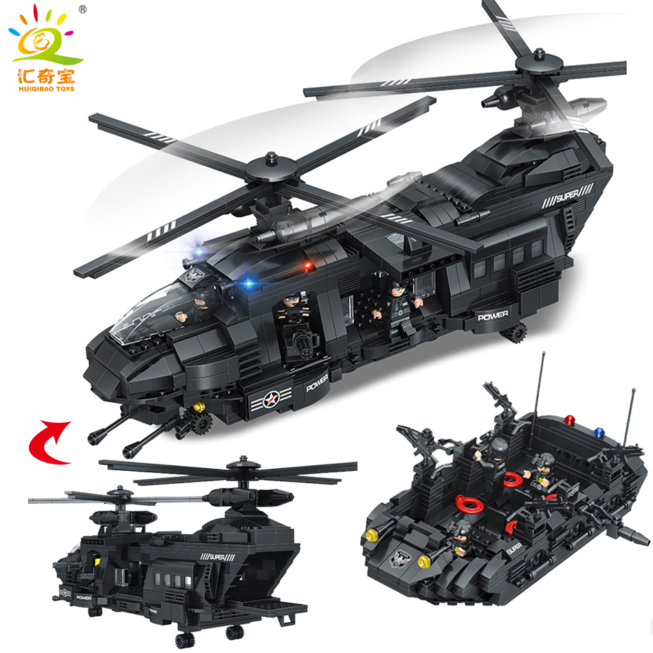 Military Swat Team Helicopter Model City Police Figures Building Blocks Compatible Legoed Army ww2 Enlighten Toys For Children military city police swat team army soldiers with weapons ww2 building blocks toys for children gift