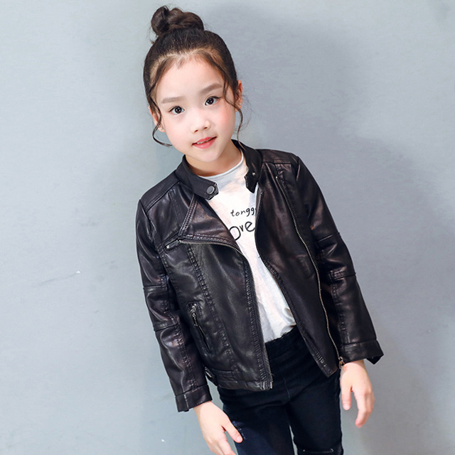 669caafad45c Brand Children PU Leather Jacket Baby Girls Autumn Leather Coat ...