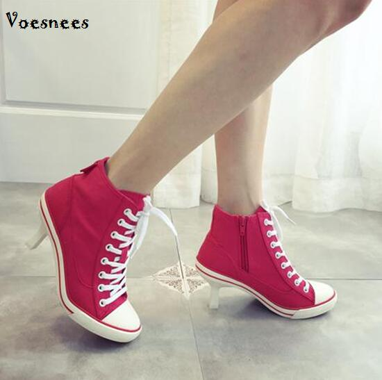 Canvas Woman Shoes Boots Wome 2018 New Women's Shoes Denim High Heels Female Canvas Pumps Lady's Boots Ankle Lace-Up Thin Heels