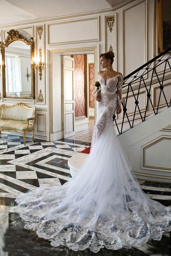 Lace Mermaid Wedding Dress With Long Train - Short Hair Fashions