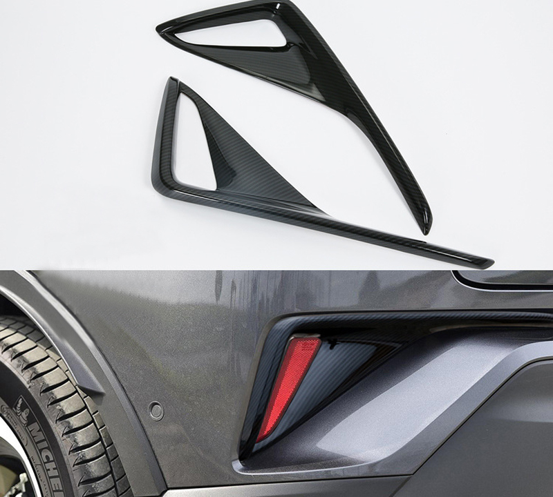 Car Styling Accessories 2PCS ABS Exterior Rear Tail Fog Light Fog Lamp Cover Trim For Toyota C-HR 2016 2017 2018 car front fog lamp cover rear tail fog lamp cover trim abs chrome fit for citroen c4l 2013 2014 2pcs per set