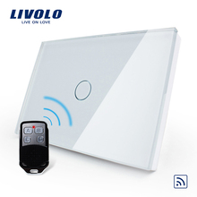 Livolo стандарт США/Австралии 1 комплект дистанционного управления, AC 110~ 250 В, белая стеклянная панель, переключатель с мини-пультом дистанционного управления, C301R-81VL-RMT-02