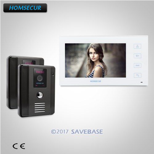 HOMSECUR 7 Wired Video Door Entry Phone Call System+IR Night Vision for Apartment 2C1M homsecur 9inch wired video door entry phone call system black camera for apartment