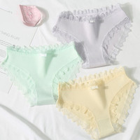 Lace Women Underwear Cotton Panties Female with Bow for Young Fashion Candy Color Summer Short Lingerie Ladies 3pcs/lot women's panties