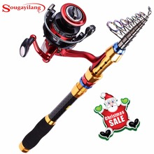 Sougayilang 1.8-3m Telescopic Fishing Rod and 13+1BB Fishing Reel Wheel Carbon Fiber Fishing Rod Spinning Fishing Reel Combo