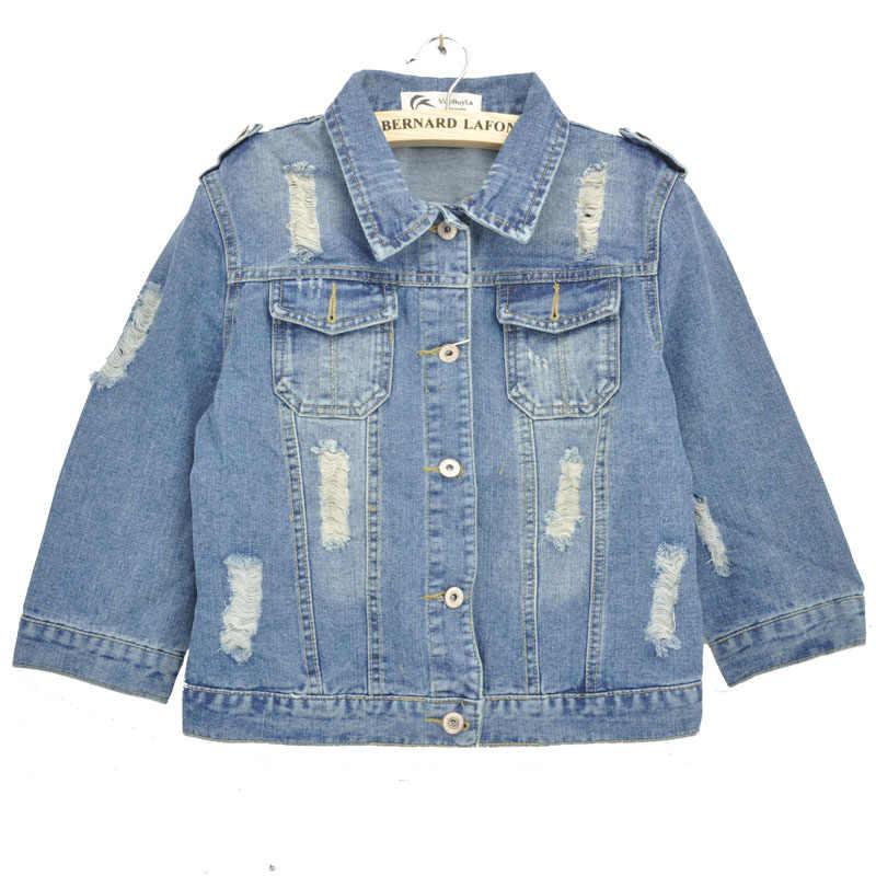 冬のオン · セールプラスサイズ 5XL Spirng のデニムジャケット 2019 膝ショートジーンズジャケット女性スリム特大デニムコート
