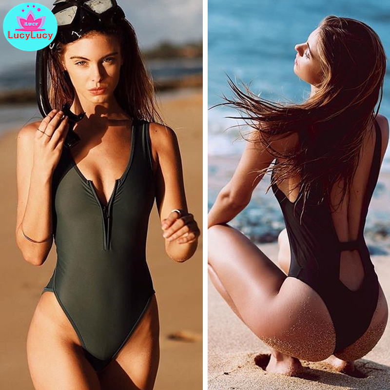 2019 Women's Europe And The United States Foreign Trade New One-piece Bikini Tight Sexy Swimsuit Pure Black Zipper