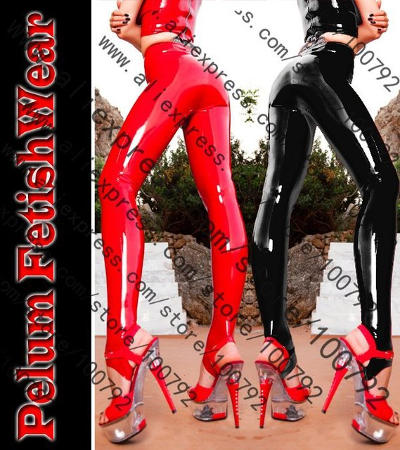 New Fetish Gothic Sexy Shinny Glass Stretch PVC Vinyl Latex Legging Pants Celebrity High Waist Leggins  Fitness Legging Pants