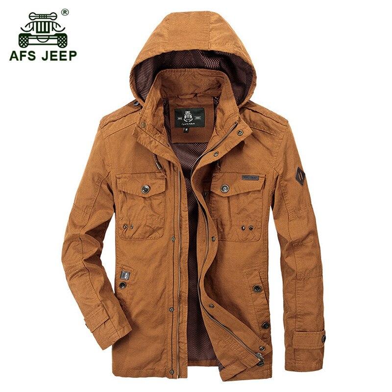 ! AFS JEEP 2017 European men autumn casual brand hooded khaki jacket coat spring man fashion army green jackets orange red coats