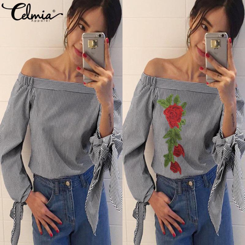 Для женщин блузки цветочной вышивкой с открытыми плечами блузка 2018 Демисезонный рубашка с длинными рукавами Для женщин Camisas Femininas лук Для же...