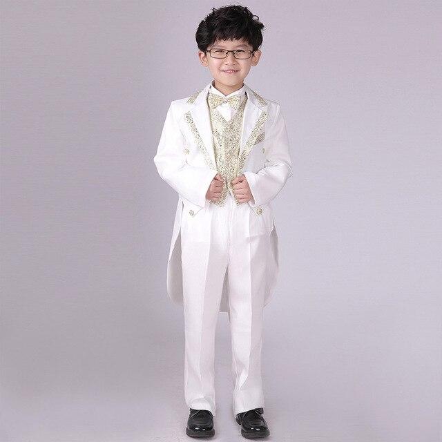 5pcs Set New 2017 Boy Wedding Outfit Boys Costums Formal Suits Children Blazers Sets