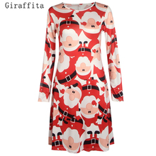 The Latest Fashion Spring And Autumn Women Christmas The Elderly Snow Printing Mixed Red And White Dress(China)