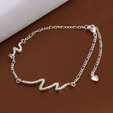 Wholesale Sterling 925 jewelry silver plated Anklets,925 jewelry silver plated Fashion Jewelry,Polka Dot Inlay Anklets A028