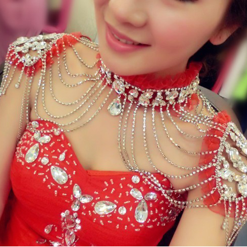 Red White Clear Shoulder Necklace Crystal Bridal Pageant Wedding Rhinestone Shoulder Jewelry Chain Necklaces for Quinceanera