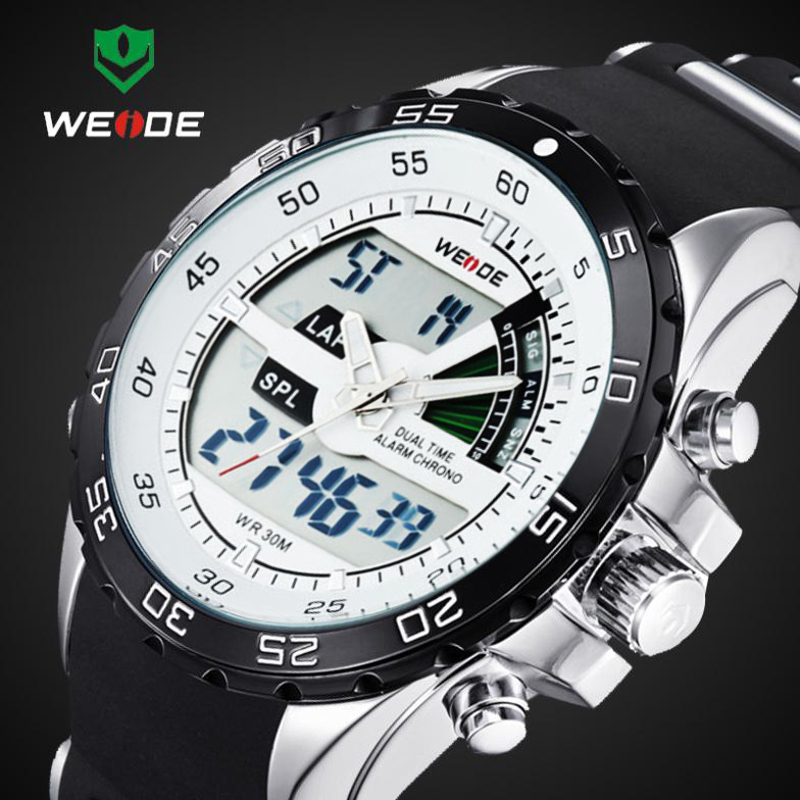 2017 WEIDE Brand Luxury Sport Watches For Men Digital Analog Shock Watch Army Military Waterproof Wristwatches Relogio WH1104 weide popular brand new fashion digital led watch men waterproof sport watches man white dial stainless steel relogio masculino