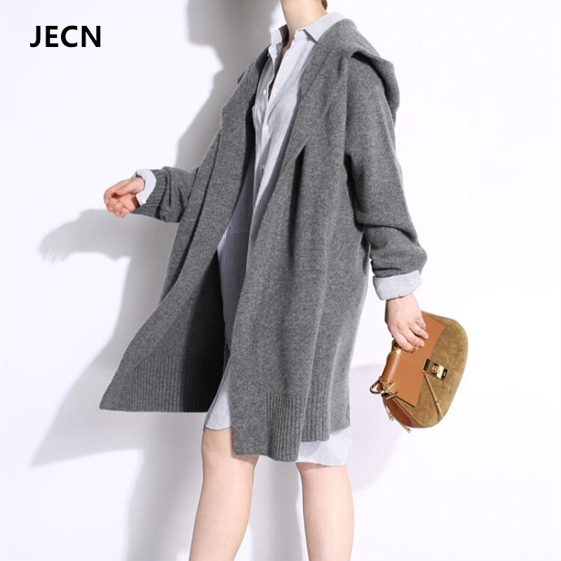 JECH New Fashion 2017 Autumn Winter Grey Black Cardigan Women Hooded Sweaters Casual Plus Size Women Coats Long Sweaters
