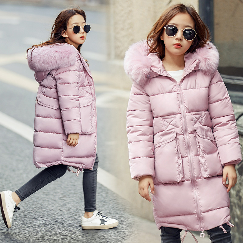 30 degrees Girls Cotton padded Outerwear & Coats 2018 Winter Children Warm Clothes fashion multicolour Fur Collar Jacket 3 16 Y