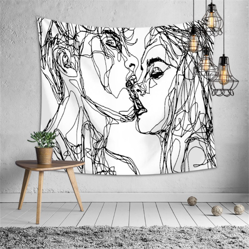 Creative Line Draw Tapestry Wall Hanging Boho Decor Hippie Kiss Psychedelic Abstract Carpet Cloth Tapestries