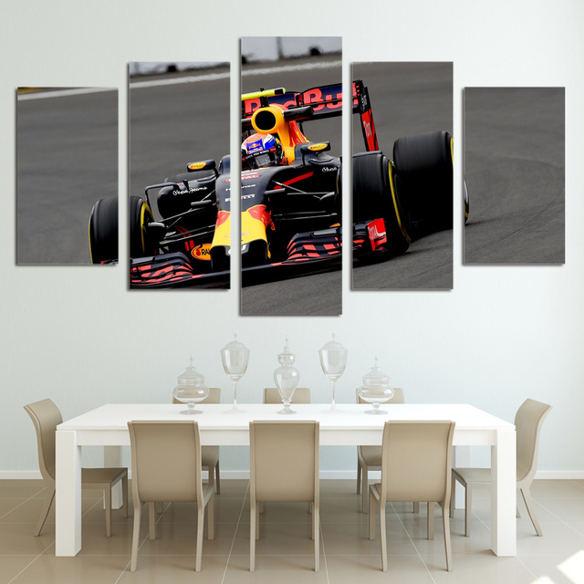 5 Pieces HD Prints Modular Canvas Fashion Home Car Posters F1 Cycle Racing Paintings Boys Room Decor Pictures Framework Wall Art