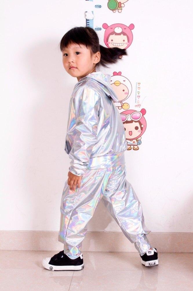 2018 New Spring Autumn Kids bomber Jacket Stage Performance Wear paillette feminina casaco Fluorescence Hip Hop dance coat 5