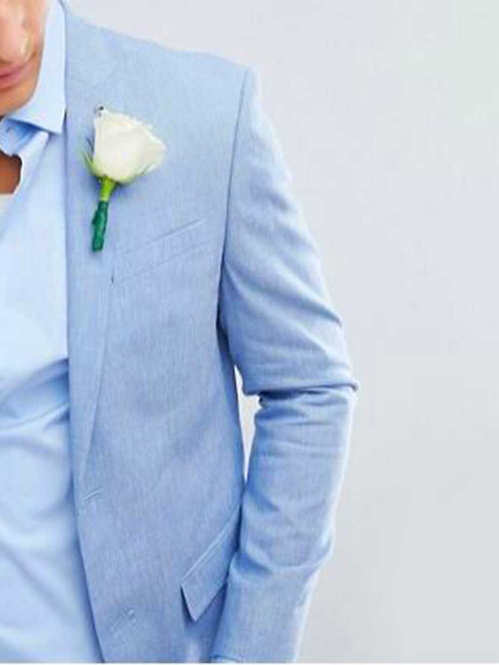 2019 Fashion Sky Blue Linen Suits Men Custom Made Slim Fit Light Weight Groom Suits For Beach Wedding Suits For Men Tuxedo