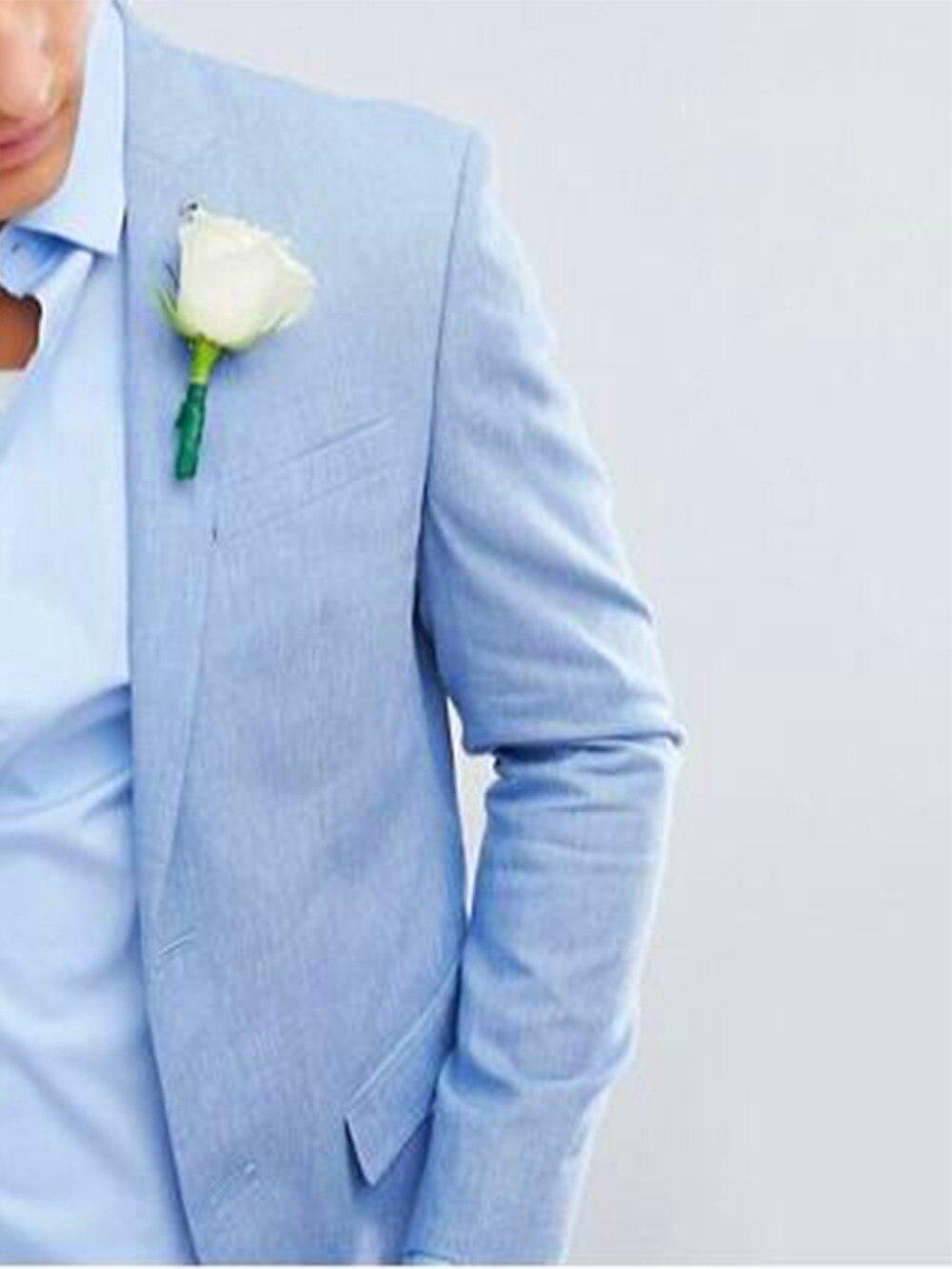 2019 moda céu azul linho ternos homem feito sob encomenda magro caber leve noivo ternos para praia ternos de casamento para homem smoking
