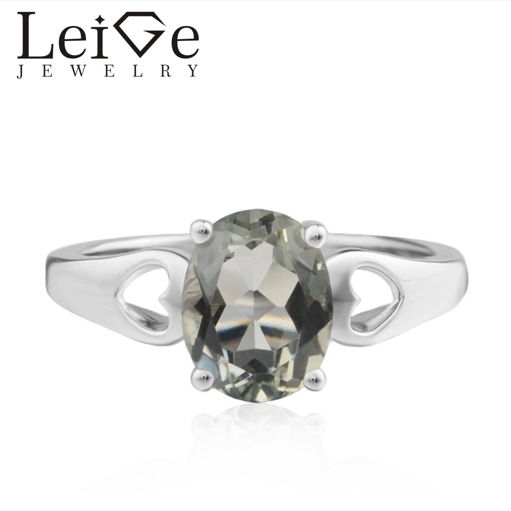 Leige Jewelry Wedding Ring Natural Green Amethyst Ring Oval Cut Green Gemstone 925 Sterling Silver Ring Romantic Gifts for Her leige jewelry solitaire ring natural green amethyst ring round cut wedding ring gemstone 925 sterling silver ring gift for women
