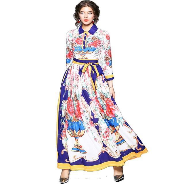 2018 Весна Для женщин макси платье взлетно-посадочной полосы Халат Longue Femme летнее пляжное платье рубашка vestidos Verano ваза Цветочный принт Длинные платья