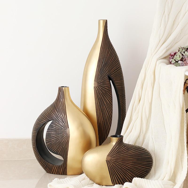 modern art gold resin creative Retro flowers vases home ...
