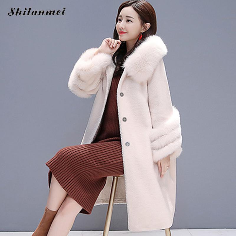 Size 3xl Vison WhiteBlauWeiKamel Faux Off Outwear Feminino Dicke Wintermode Kapuze Warme Wollmantel Lange Fleece Pelzkragen Plus Casaco Damen qjSzMVLUpG