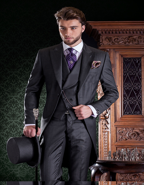 High Quality Groom Tuxedos Grey Morning Suit In Wool Blend With ...