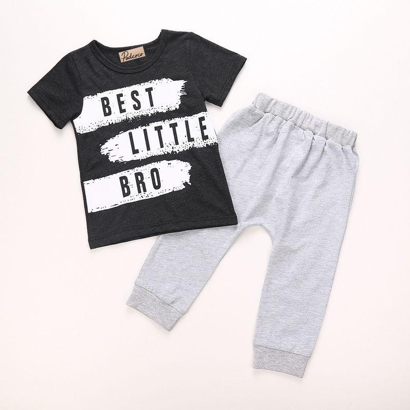 32293c4e1de 2PCS Cotton Toddler Kids Baby Boy Black Letter T shirt Tops+Grey ...