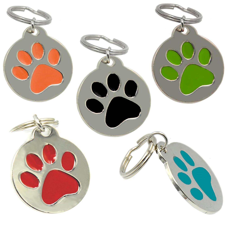 Lindo Grabado Alrededor de La Pata Diseño Zinc Aleación de Aluminio Tarjeta de Identidad Para Mascotas