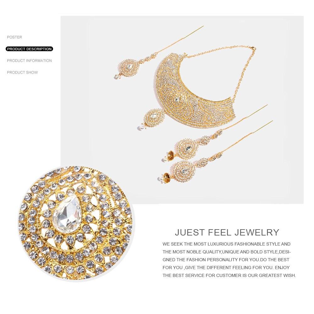 Juste sentir Dubai cristal or couleur bijoux ensembles mariage africain mariée Imitation perle goutte d'eau nouveau collier boucle d'oreille coiffure - 4