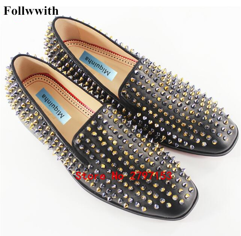 2018 Fashion Mens Glitter Spiked Rivets Leather Flats Shoes Itlian Slip On Shoes Mens Porm Loafers Plus size 48 Men Casual Shoes pl us size 38 47 handmade genuine leather mens shoes casual men loafers fashion breathable driving shoes slip on moccasins