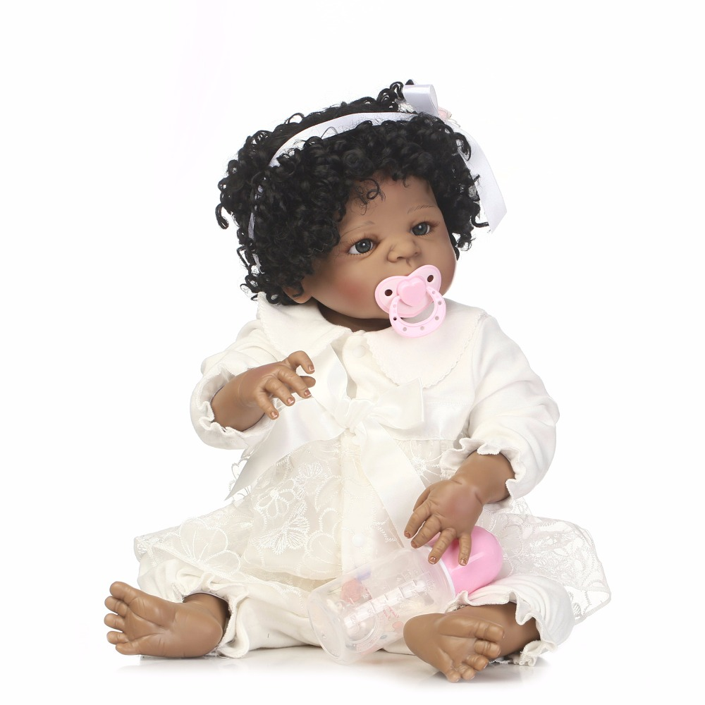 Pursue Baby Full Body Black Baby Doll African American Girl 22 Inch Washable Realistic Newborn Baby Infant Doll with Pacifier creative mustache style infant pacifier