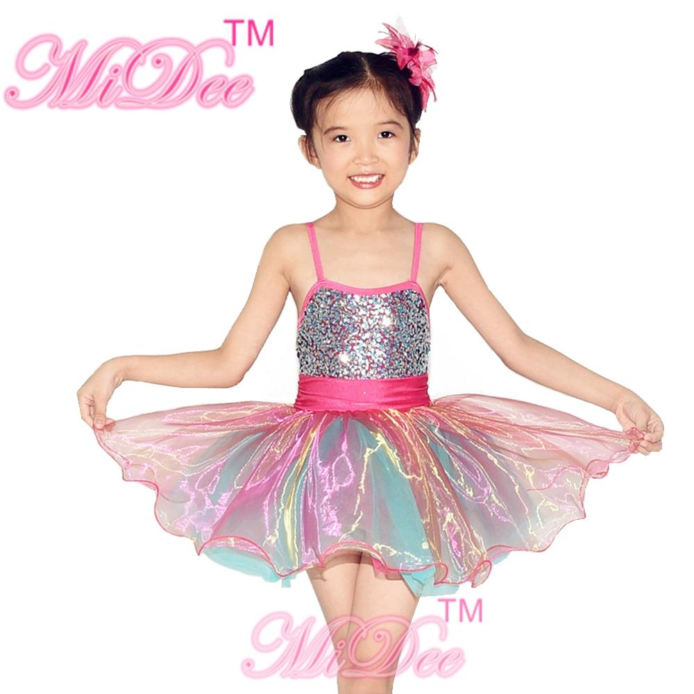 4154f58cbe MiDee Kostium Sceniczny Sukienki Dla dzieci Sukienka Tańca Towarzyskiego  Liturgiczne Dancewear Balet Trykoty Dziewczyny Taniec Kostium
