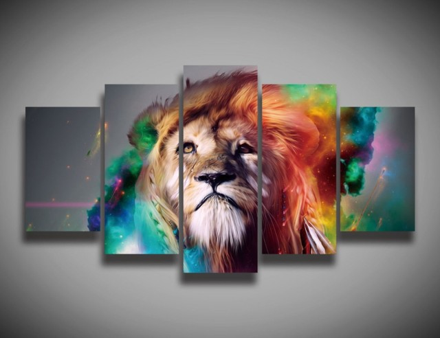 5 panels canvas prints colourful lion animal canvas painting poster home decor fashion wall art for