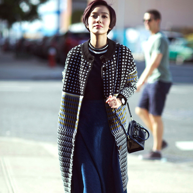 Cardigan Women Sweater Celebrity-inspired Design New Trench Coat Women Medium Long Warm Wool Jacket European Overcoat