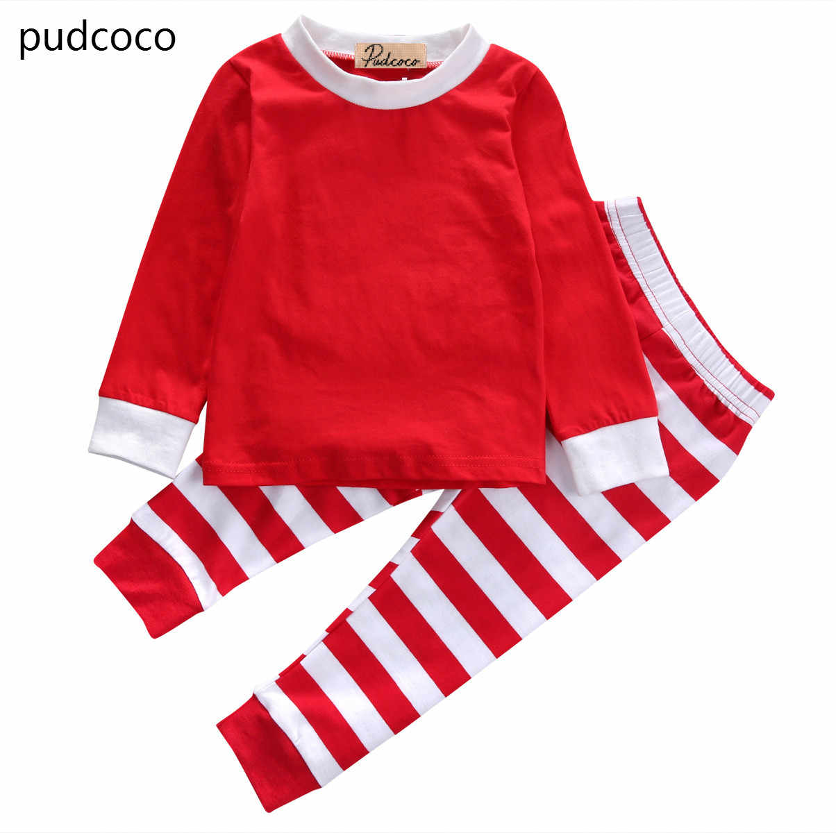 be7231f6ee50 Detail Feedback Questions about 2pcs Kids Baby Boy Girls Striped Outfits  Christmas Pajamas Sleepwear Set Red Green Cotton Tops Long Pants Xmas  Clothes Set ...